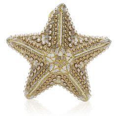 Judith Leiber minaudière - Stella Starfish minaudière with pearl bead detailing, cross body chain and top snap closure.
