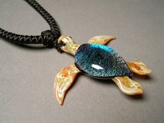 Glass handmade Sea Turtle Pendant Necklace focal by Glassnfire, $48.00