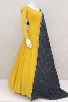 Pure Georgette Canary Yellow Elegant Outfit With Lakhnavi Work Canary yellow pure georgette indian outfit with lakhnavi,thread petite stone work on border. contrast blue pure georgette dupatta with pur Indian Fashion Dresses, Pakistani Dresses Casual, Indian Gowns Dresses, Dress Indian Style, Pakistani Dress Design, Indian Designer Outfits, Indian Outfits, Pakistani Mehndi Dress, Party Wear Indian Dresses