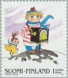A Moomin stamp Stamp World, Tove Jansson, Love Stamps, Little My, Illustrations And Posters, Mail Art, Stamp Collecting, Postage Stamps, Fairy Tales