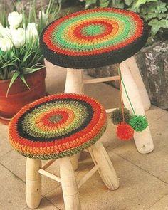 Patrón #1296: Fundas para Banquitos a Crochet | CTejidas [Crochet y Dos Agujas]