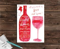 Watercolor Bridal shower invitation,Printable Bridal shower invitation,Bridal…