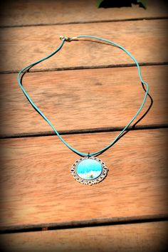 Blue Tree Glass Pendant Jewelry Silver Plate by BeeMadeDesign