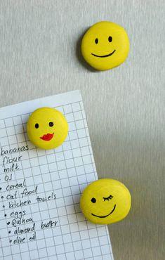 Süße Emoticons Magnete, Zettel am Kühlschrank mit selbstgemachten Magneten befestigen