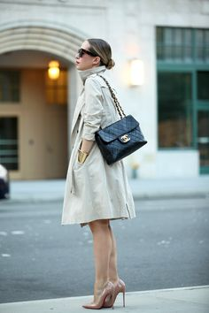 Smart city looks including black dress, Chanel accessories, and Louboutin heels via brooklynblonde.com