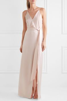 Baby-pink satin Concealed hook and zip fastening at back  75% triacetate, 25% polyester; lining: 100% polyester  Dry clean  Designer color: Primrose Imported