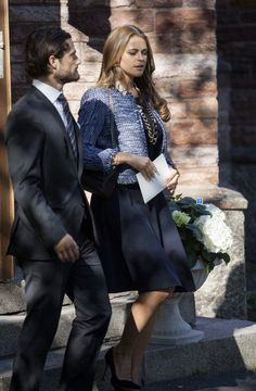 Prince Carl Philip and Princess Madeleine of Sweden attend a memorial service for their late aunt Princess Lilian of Sweden 9/8/2013