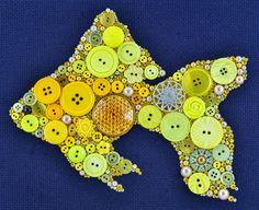 Button Art Goldfish Vintage Button Art от PaintedWithButtons