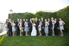 wedding party- black tuxedo, pink dresses, pink flowers - Google Search