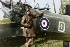 """Vintage Aircrafts Captain Reginald George David Francis posing with """"Sylvia"""", one of No. 3 Squadron Australian Flying Corps' most well-known reconnaissance aircraft. Commonwealth, Colorized History, Flying Ace, Air Festival, Vintage Airplanes, Vintage Cars, World War One, Royal Air Force, Aviation Art"""