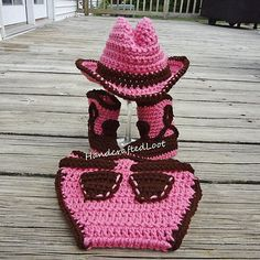 Baby Crochet Cowboy Hat, Boots & Diaper Cover. Photo Prop 0-3, 3-6 Cowgirl Prop