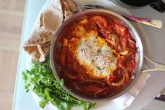 Spicy Shakshuka Quick Breakfast by adventuressheart - there is also a stuffed cookie recipe on this site that looks divine! Good Healthy Recipes, Lunch Recipes, Mexican Food Recipes, Healthy Foods, Breakfast Dishes, Breakfast Recipes, Paleo Diet Food List, Man Food, Light Recipes