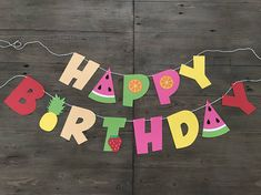 tutti frutti happy birthday banner. Perfect for your next summer luau or little ones birthday. Size: letters approx 5 tall check out our other fruit themed party decor here