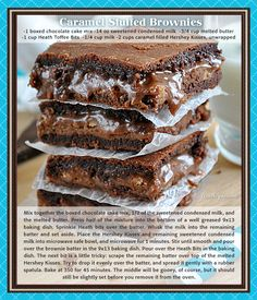 caramel stuffed brownies food desert recipe brownies recipes ingredients instructions desert recipes chocoalte brownie recipes