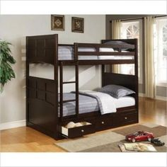 Twin Bunk Bed w/Storage Drawers Wood Cappuccino Kids Teens Ladder Guard Rail New #Coaster #Contemporary