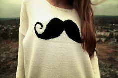 cute moustach sweater. Reminds me of Aleesha haha gonna get it for her!!!!