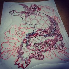 #tattoo#刺青#下絵#獅子#牡丹#redbunnytattoo#horifuki by horifuki_art http://instagram.com/p/wTRWl-Ff2B/