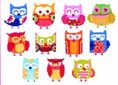 Owl Cross Stitch Kits | Hooties Funky Owls (cross stitch)