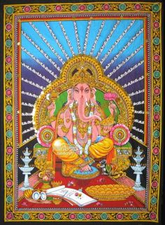 ganesha wall hanging hindu elephant god painted ganesh sequin tapestry decor art
