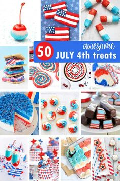 50 of the BEST OF JULY DESSERTS! Cupcakes cookies marshmallows pretzels donuts fruit Rice Krispie treats and more. 4th Of July Cake, 4th Of July Desserts, Fourth Of July Food, 4th Of July Nails, 4th Of July Fireworks, 4th Of July Party, July 4th, Patriotic Party, Holiday Desserts