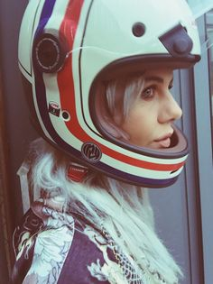 We sell cool stuff for the cool people who make up the vintage motorcycle community. Retro Helmet, Vintage Helmet, Lady Biker, Biker Girl, Motorcycle Helmets, Riding Helmets, Motorcycle Girls, Chicks On Bikes, Cafe Racer Style