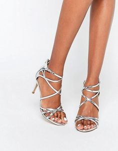 Head Over Heels By Dune Minita Silver Strappy Heeled Sandals