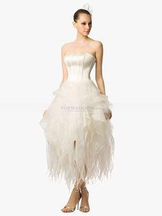 Romayne - strapless hasta la tibia vestido de novia de satén y organza