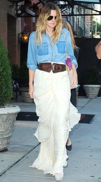 denim shirt with long skirt