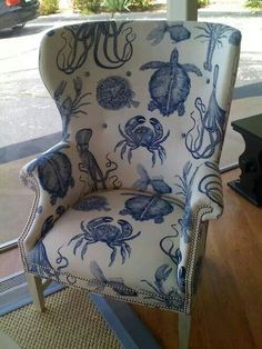 Declutter And Style And Design For Put Up-Spring Crack Homeschool Good Results Beautiful Classic Sea Life Print On A Wingback Chair. Coastal Style, Coastal Decor, Coastal Fabric, Upholstered Chairs, Wingback Chair, Chair Cushions, Design Apartment, Cottages By The Sea, Coastal Living Rooms