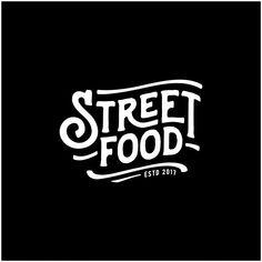 Street Food Chalk Handwriting Typography For Restaurant Cafe Bar Logo Design Vector Logo Restaurant, Resturant Logo, Food Logo Design, Logo Food, Branding Design, Bar Logo, Food Typography, Inspiration Logo Design, Typographie Logo