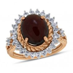 Viola, Oval-cut Hessonite & White Topaz Ring in Sterling Silver Rose Plated