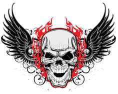 Winged Skulls For Tattoos - Skull with Wings Tattoo Ideas Winged Skulls For Tattoos - Skull with Wings Tattoo Ideas Insane Skull Tattoos wit. Skull Stencil, Skull Art, Skull Tattoos, Body Art Tattoos, Wing Tattoos, Alice In Wonderland Drawings, Sailor Jerry Tattoos, Totenkopf Tattoos, Angel Tattoo Designs
