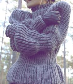 Grey fashion hand knit sweater women very soft cozy by AlisaDesign, $280.00