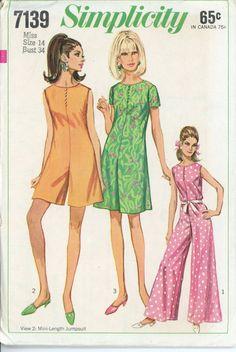 1960s Pantdress Vintage Pattern Simplicity 7139 Misses Jumpsuit Romper Playsuit Day or Evening Womens Vintage Sewing Pattern Bust 34