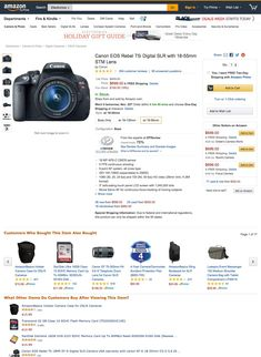 Product Page Usability: Recommend Both Alternative & Supplementary Products (Only Get it Right) - Articles - Baymard Institute Canon Eos Rebel, Product Page, Digital Slr, Holiday Gift Guide, Ux Design, Alternative, Articles, How To Get, Products
