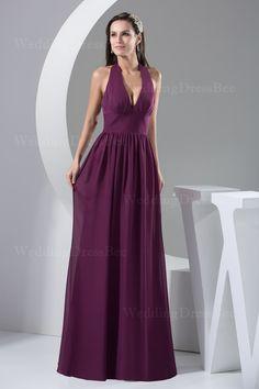 V-neck floor length chiffon dress  Sheath/Column, Floor Length, V-Neck, Empire, Sleeveless, Pleats, Zipper, Chiffon,