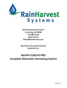 RainFlo 5100-PRO Rainwater Collection System - Rainwater Collection and Stormwater Management