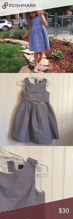 ✨Janie and Jack blue and white striped | 3T This dress is so incredibly cute!! It's in great condition and can easily fit a 4T. My daughter is a 4 - 5T and it is getting to short for her. Pet and smoke free home. Janie and Jack Dresses Casual