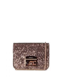 FURLA Furla Mini Metropolis Glittered Crossbody Bag. #furla #bags #shoulder bags #lining #nylon #glitter #crossbody #