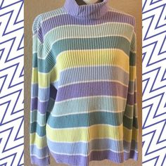 Sweater with stripes Super soft cotton blend sweater with snuggly turtle neck. Perfect with your favorite jeans and boots!  This sweater holds its shape and doesn't stretch out. Venezia Sweaters