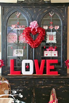Lookie What I Did: Our Hutch is full of LOVE. Cute Valentine's Day home decor ideas and inspiration.