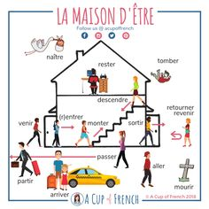 Learn French with A Cup of French! Easy and fun lessons with infographics and videos. You can enjoy your cup of French wherever you want and at your own pace. What French verbs are using ÊTRE as an auxiliary in passé composé? French Verbs, French Grammar, French Phrases, French Tenses, French Quotes, English Grammar, Basic French Words, How To Speak French, Learn French