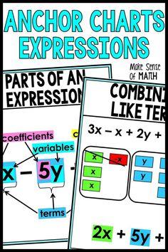 6th Grade Math Games, Seventh Grade Math, Simplifying Expressions, Algebraic Expressions, Algebra Activities, Math Worksheets, Learning Fractions, Math Anchor Charts, Math Classroom