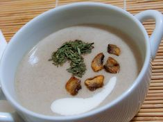 Try this delicious dairy-free mushroom soup recipe! Vive Health offers solutions to your health concerns. Call to make your appointment! Cream Of Tomato Soup, Creamy Mushroom Soup, Creamy Mushrooms, Stuffed Mushrooms, Stuffed Peppers, Cream Soup, Top Recipes, Easy Healthy Recipes, Austria Food