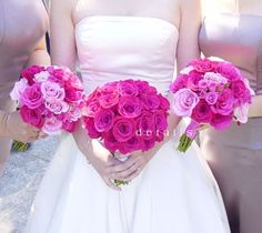 Bright pink bouquet, fuscia bouquet, light pink and bright pink bouquet.    The bridal bouquet stands out since it is one color, and the bridesmaids' bouquets are so pretty with the monochromatic pinks.