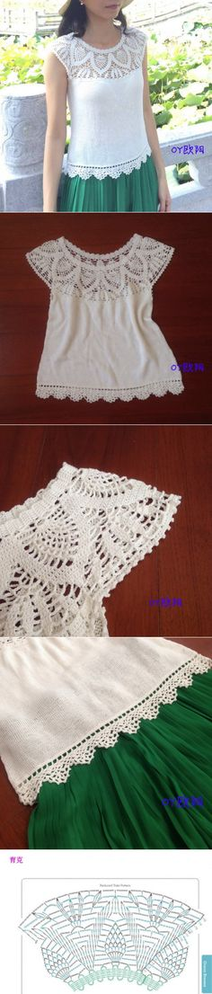 Crochet Skirt Pattern, Crochet Yoke, Crochet Lace Edging, Crochet Collar, Crochet Girls, Crochet Woman, Crochet Blouse, Easy Crochet, Crochet Patterns