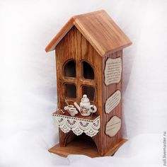 """Купить Чайный домик """"Лесная сторожка"""" - чайный домик, для чайных пакетиков, чайный домик декупаж"""