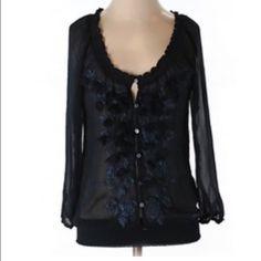 "Abercrombie & Fitch navy rosette blouse Item: Abercrombie and Fitch navy rosette chiffon blouse. Just gorgeous!!! . Size: M  Measurements: bust 18""across length 25"" Abercrombie & Fitch Tops Blouses"