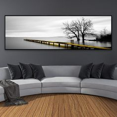 Calm Lake Surface Yellow Long Bridge Scene Black White Canvas Paintings Poster Prints Wall Art Pictures Living Room Home Decor - Modern Building A Pergola, Pergola Plans, Living Room Pictures, Wall Art Pictures, Garden Wall Designs, Black And White Canvas, Black White, Garden Solutions, Landscape Walls