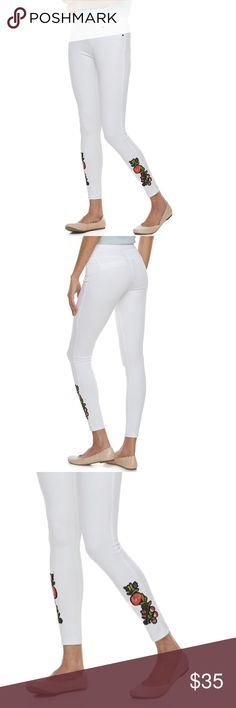 e0ef3080479ded Description: Embroidered floral patches at the ankles give this women's  Utopia by HUE leggings a beautiful burst of color.